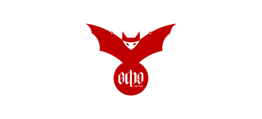 An upright bat swooping over the word 'echo' written as an ambigram in a red ball