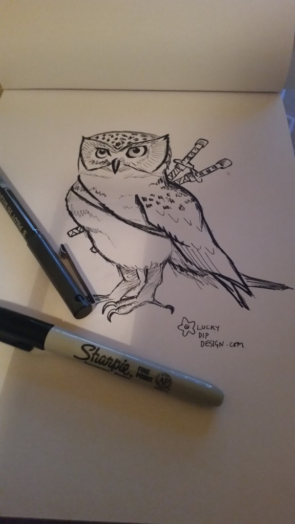 Black and white picture of an owl with two swords on his back.
